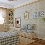 Клетчатый текстиль в спальне