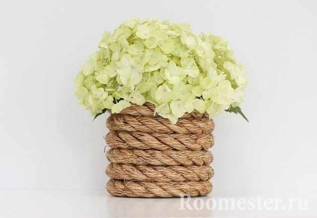 Декор вазы канатом
