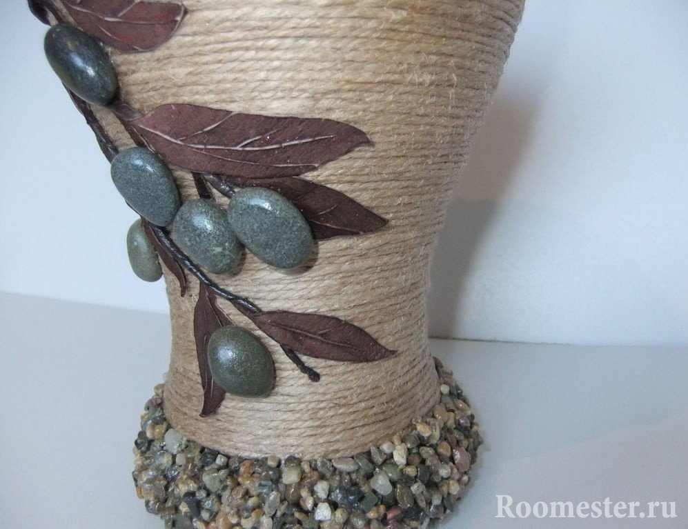 Декор вазы шпагатом