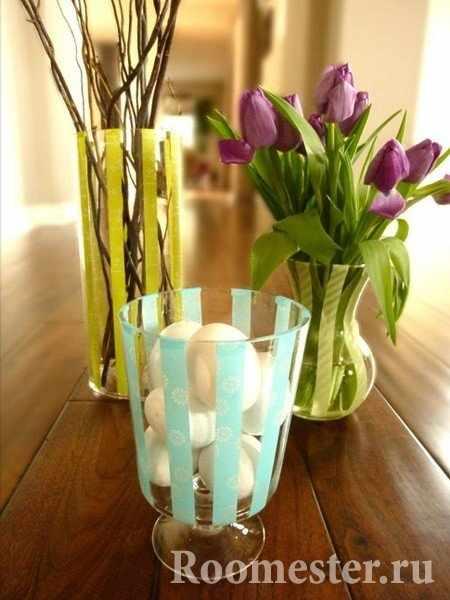Полосатые вазы своими руками