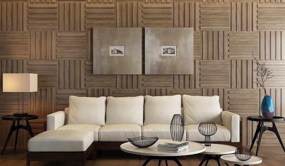 Деревянные панели на стене в интерьере