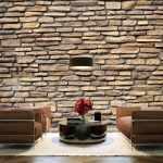 Стена под камень в интерьере гостиной