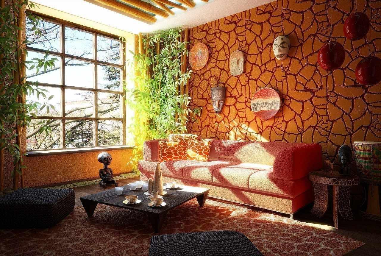 Оранжевая декоративная штукатурка в дизайне гостиной