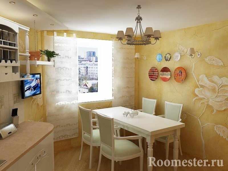 Роза на стене кухни