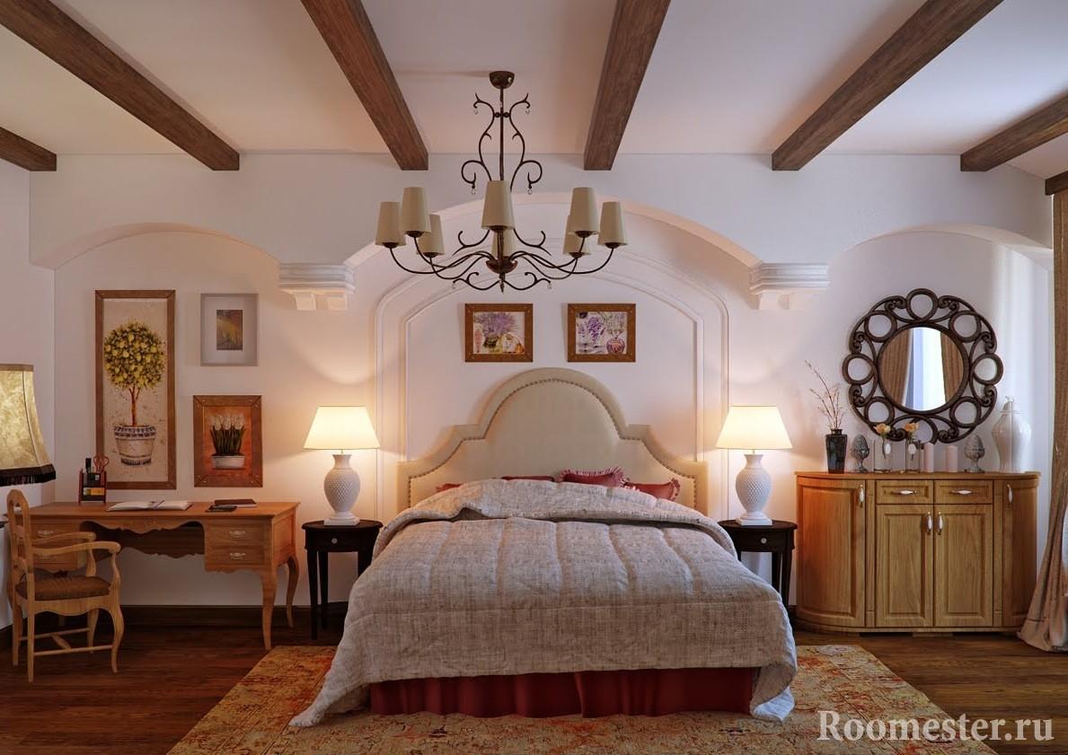 Стиль кантри в спальне