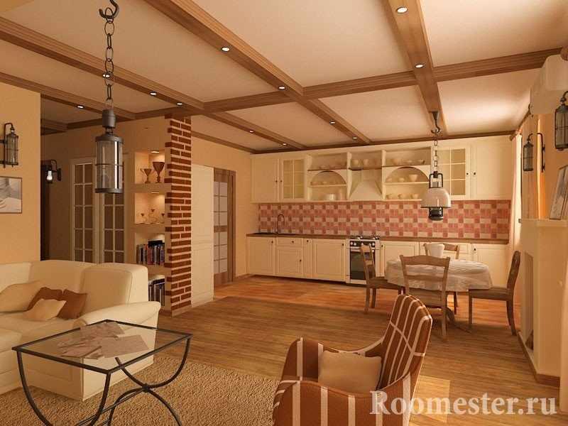 Декорирования потолка балками