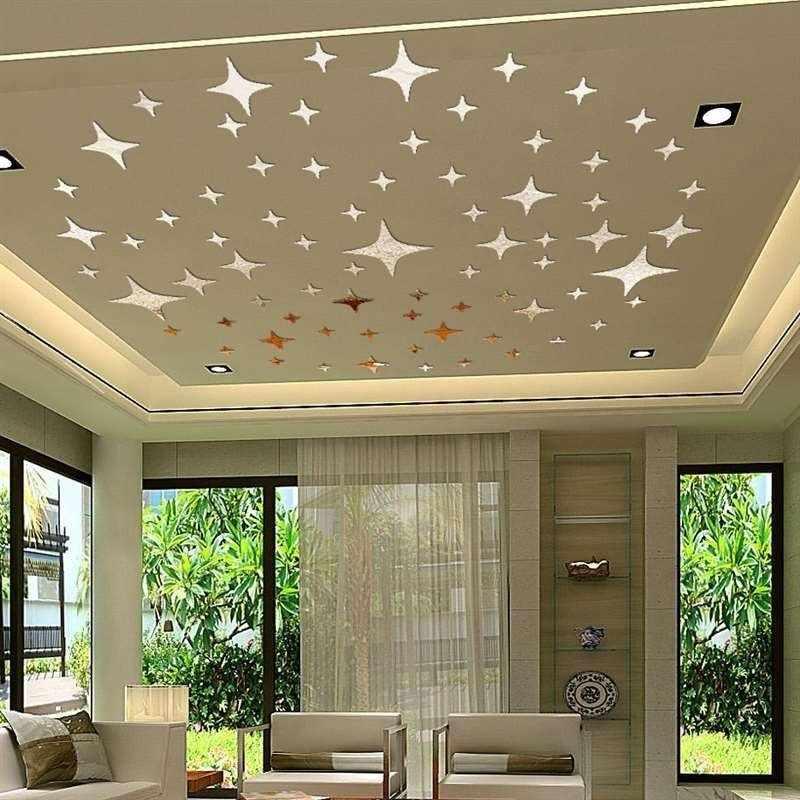 Зеркальные наклейки на потолке