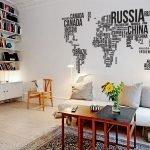 Карта над диваном
