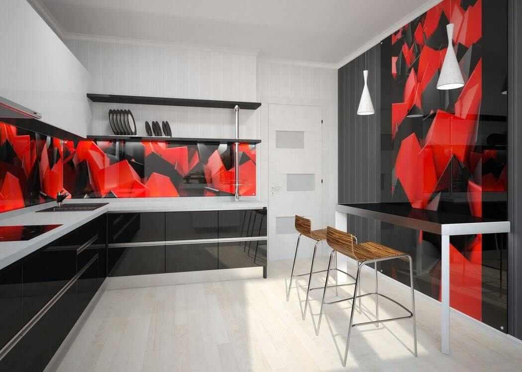 Интерьер кухни в черно-белом цвете