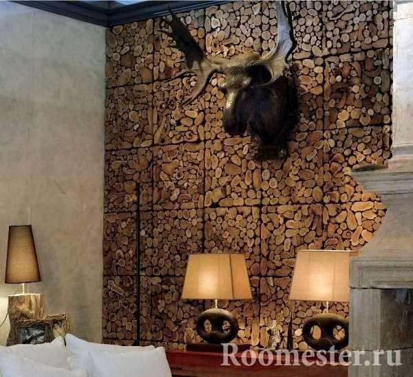 Стеновые панели из спила дерева