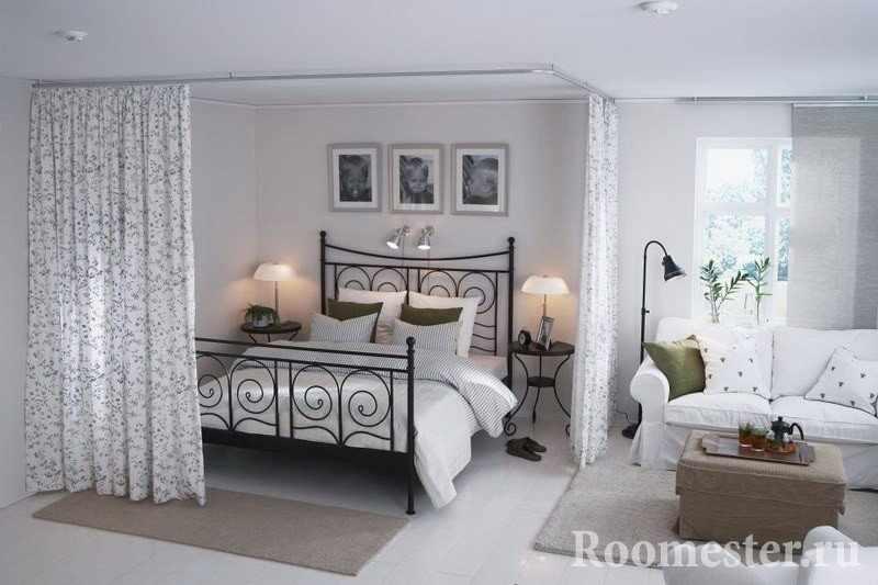 Перегородка в одной комнате с помощью шторы