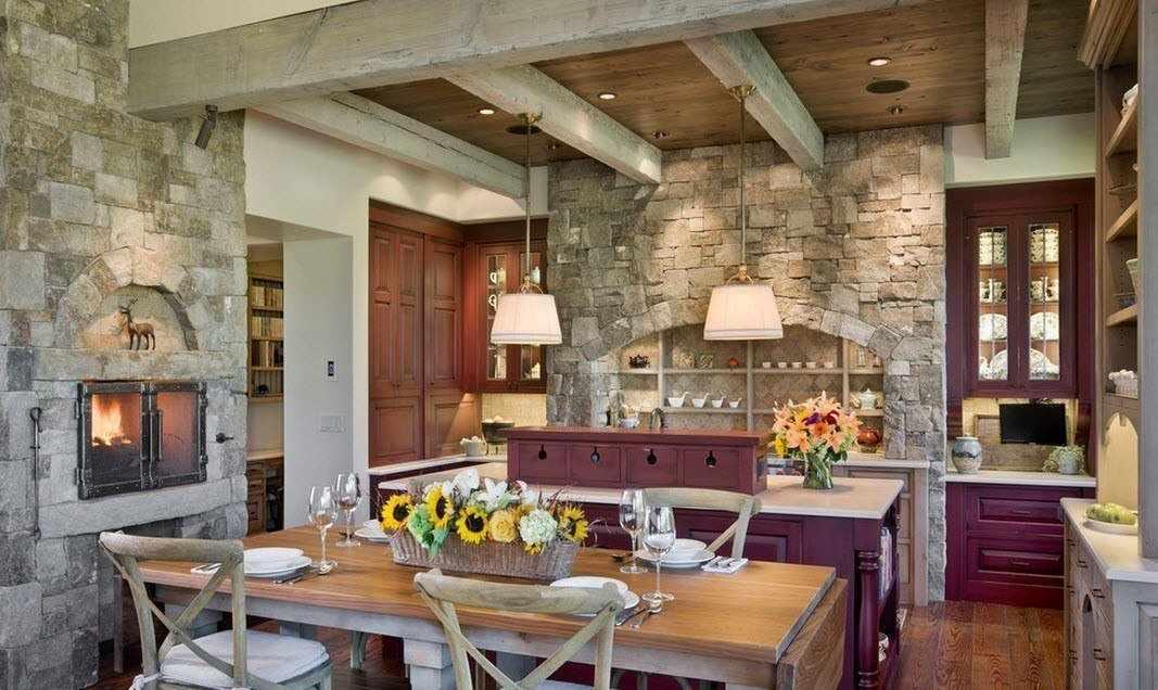 Отделка кухонных стен плиткой под камень
