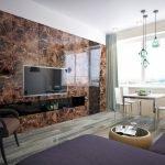 Применение натурального камня в дизайне гостиной