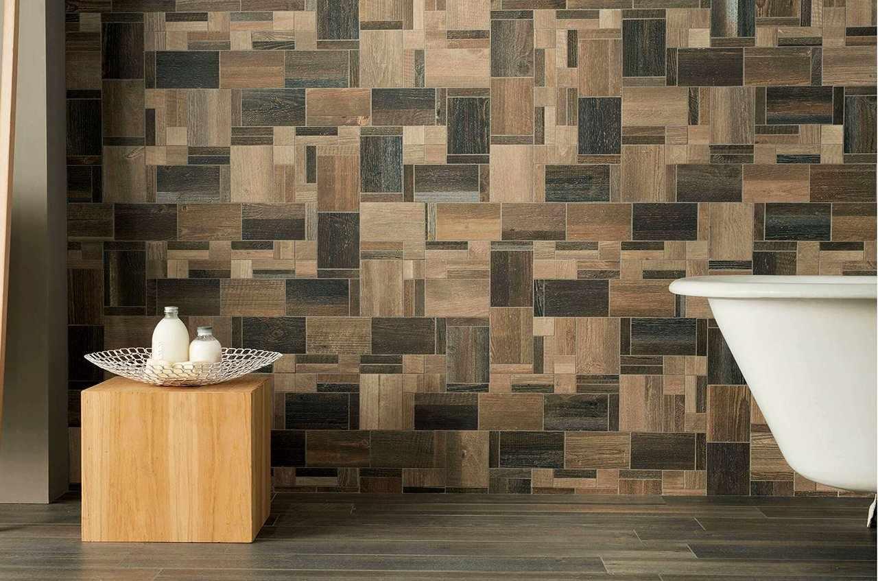 Вариант кладки декоративного камня на стену ванной