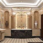 Большая ванная комната с отделкой из натурального камня