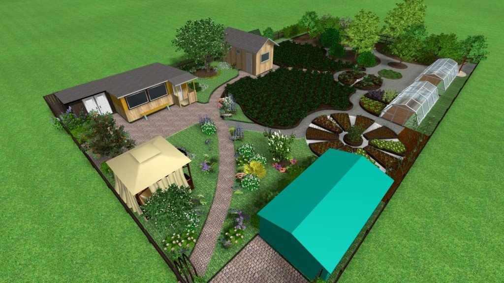 Планировка участка в деревенском стиле