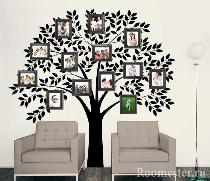 Аппликация на стене семейное дерево