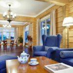 Синяя мебель в гостиной