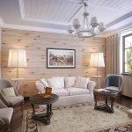 Крашеный белый потолок в гостиной