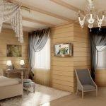Деревянные балки на потолке в спальне