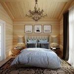 Светлый декор деревянной спальни