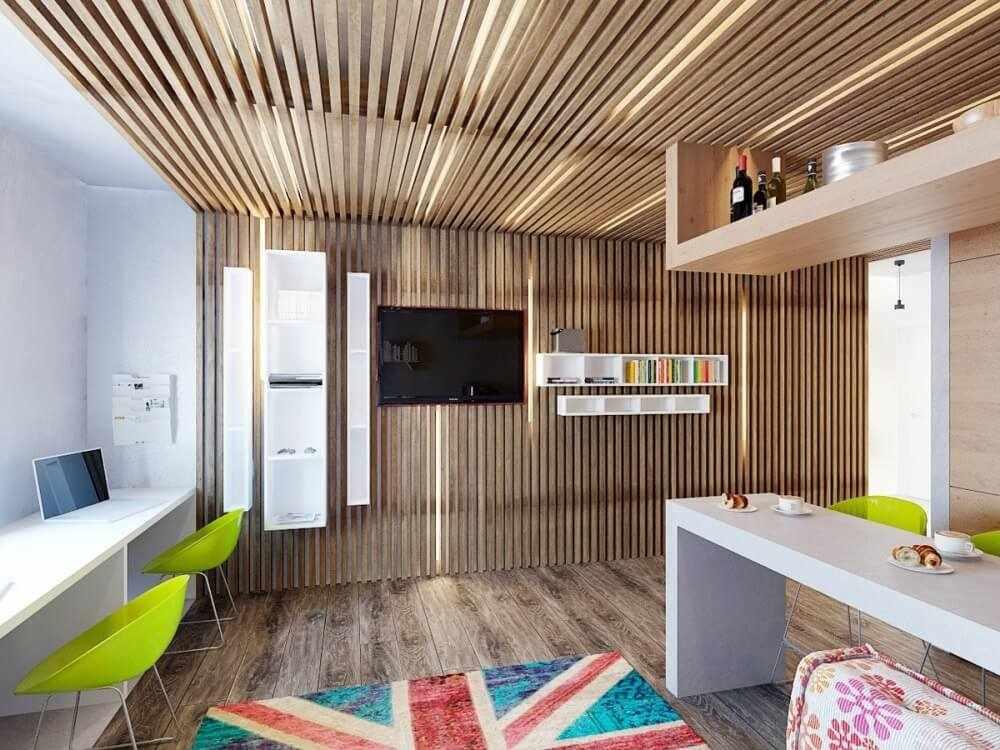 Декор комнаты рейками
