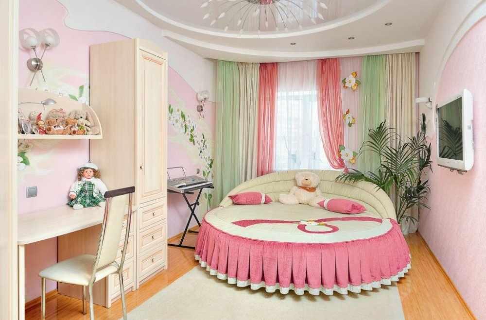 Круглая кровать для девочки-подростка