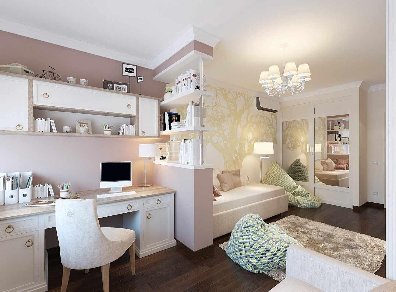Бежевый интерьер спальни для ребенка