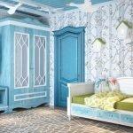 Голубой декор комнаты для девочки