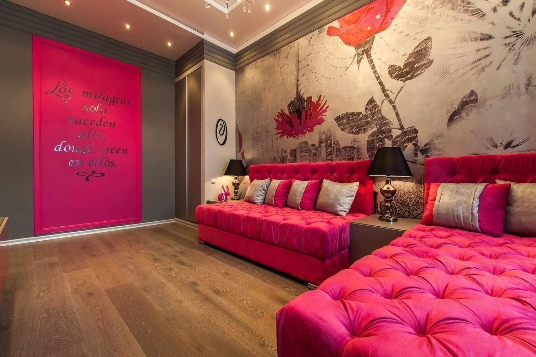Розовый с серым в интерьере комнаты для подростка