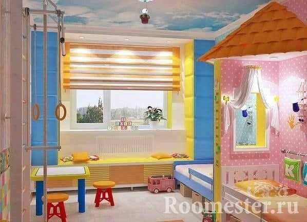Десткая комната для двоих детей мальчика и девочки