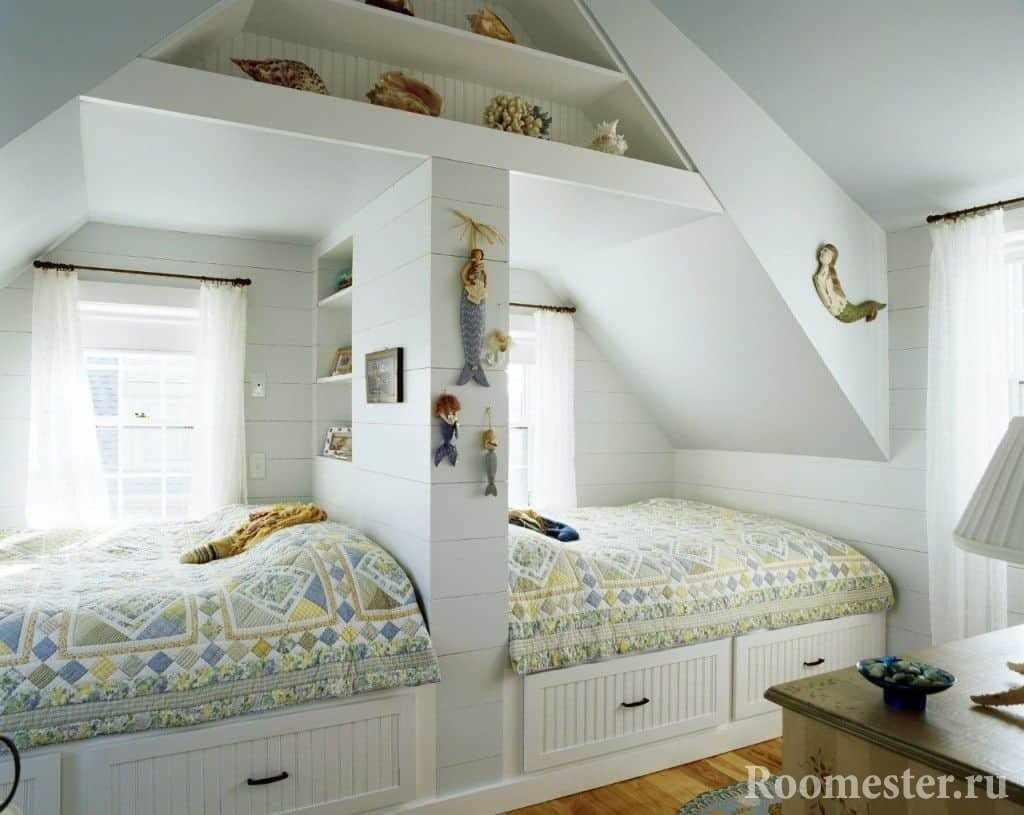 Разделенное спальное место для двоих разнополых детей