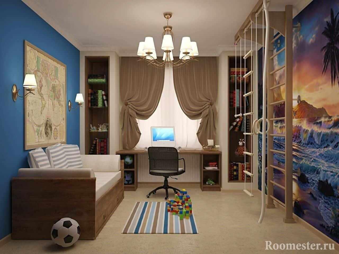 Детская комната в хрущевке для мальчика с спортивной зоной
