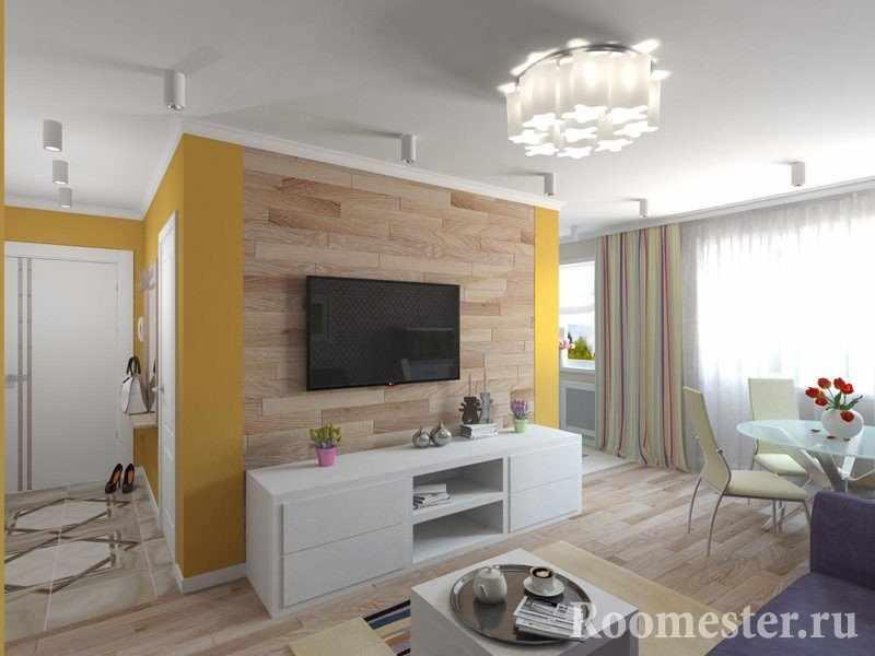 Оформление комнаты с декором под дерево