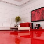 Красный пол в гостиной