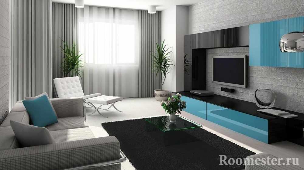 Серо-голубой интерьер гостиной