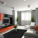 Оранжевый декор в светлом интерьере