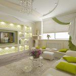 Полки с подсветкой в гостиной