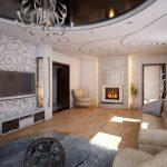 Узоры на стене и потолке в гостиной