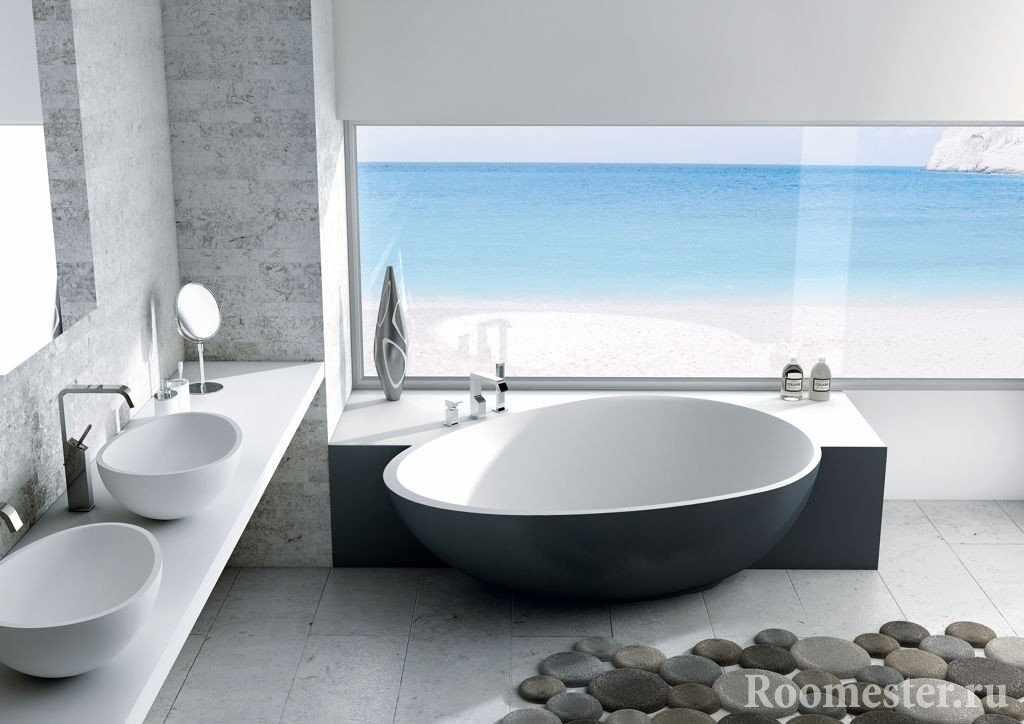 Коврик в виде камней у ванной
