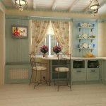 Полки с посудой и картина на стене кухни