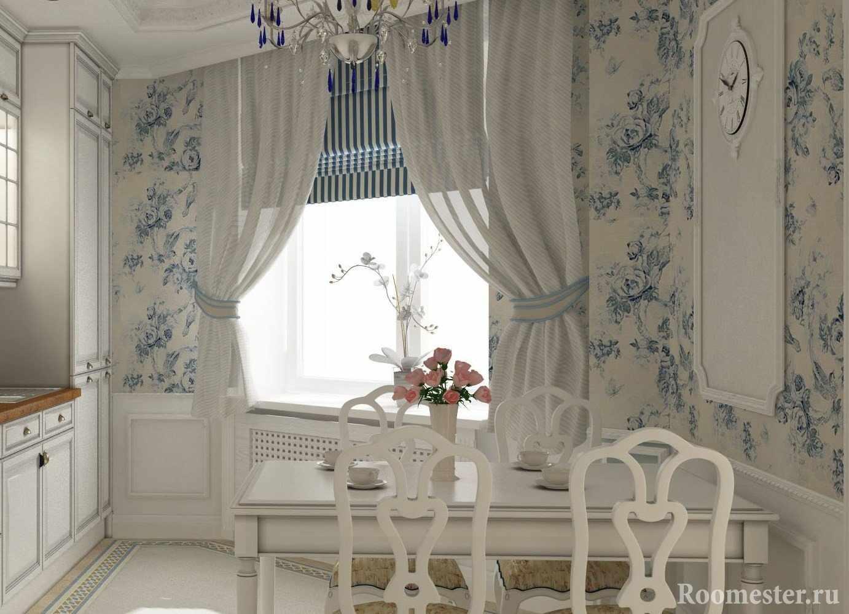 Белые обои с голубыми узорами на кухне