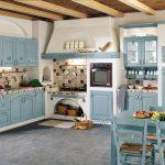 Голубая мебель в сочетании с белыми стенами