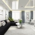 Черный диван в белом интерьере
