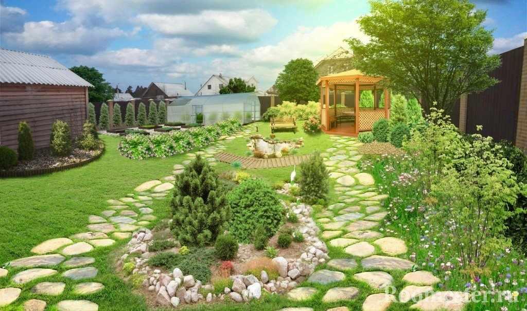 Сад с беседкой и дорожками из камня