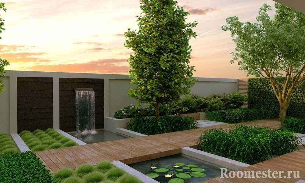 Растения и деревянные дорожки