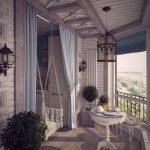 Качели на цепях на балконе