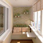 Диван и складной столик на балконе