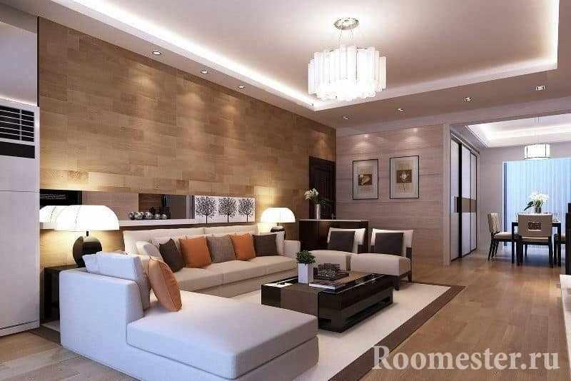 Большой диван в гостиной придаст комфорта