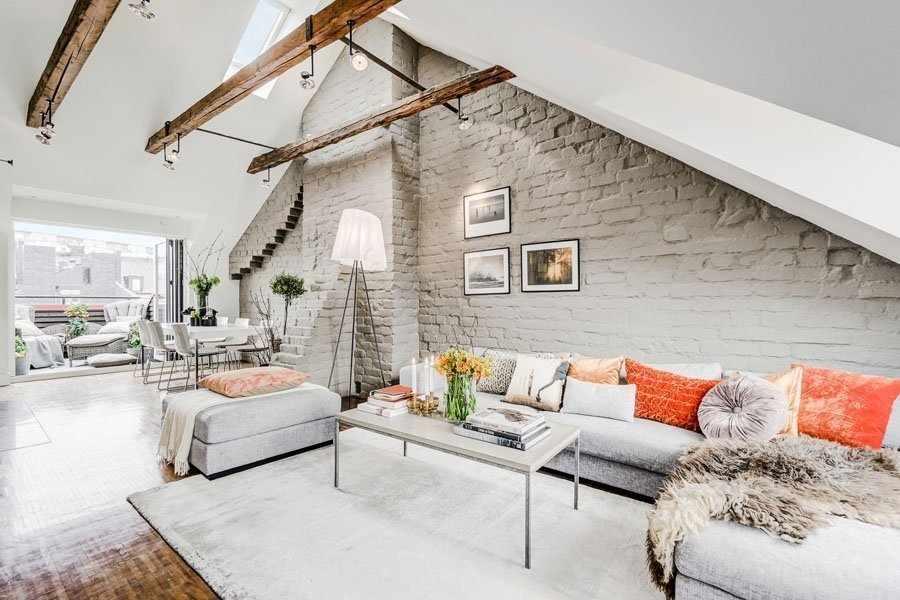 Чердак частного дома в скандинавском стиле